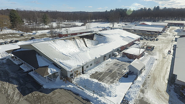 Drone Captures The Scope Of Rhinebeck Williams Lumber Roof Collapse