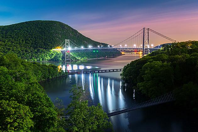 Bear Mountain bridge illuminated by night